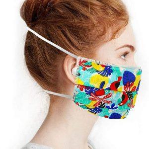 Masque en tissu lavable tropical bleu